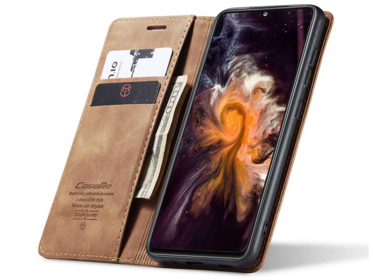 CaseMe Vintage BookCase Tan - Samsung Galaxy A31 hoesje
