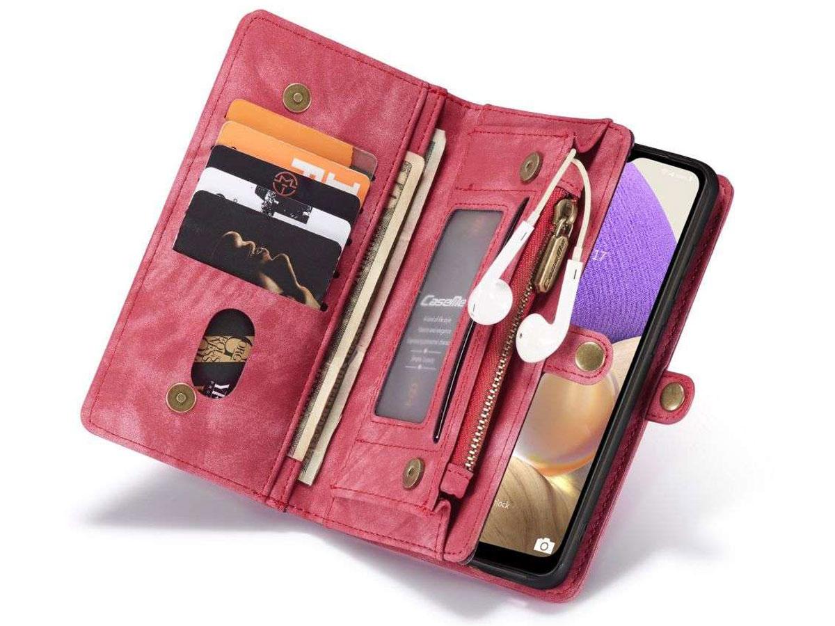 CaseMe 2in1 Wallet Ritsvak Case Rood - Samsung Galaxy A32 5G Hoesje