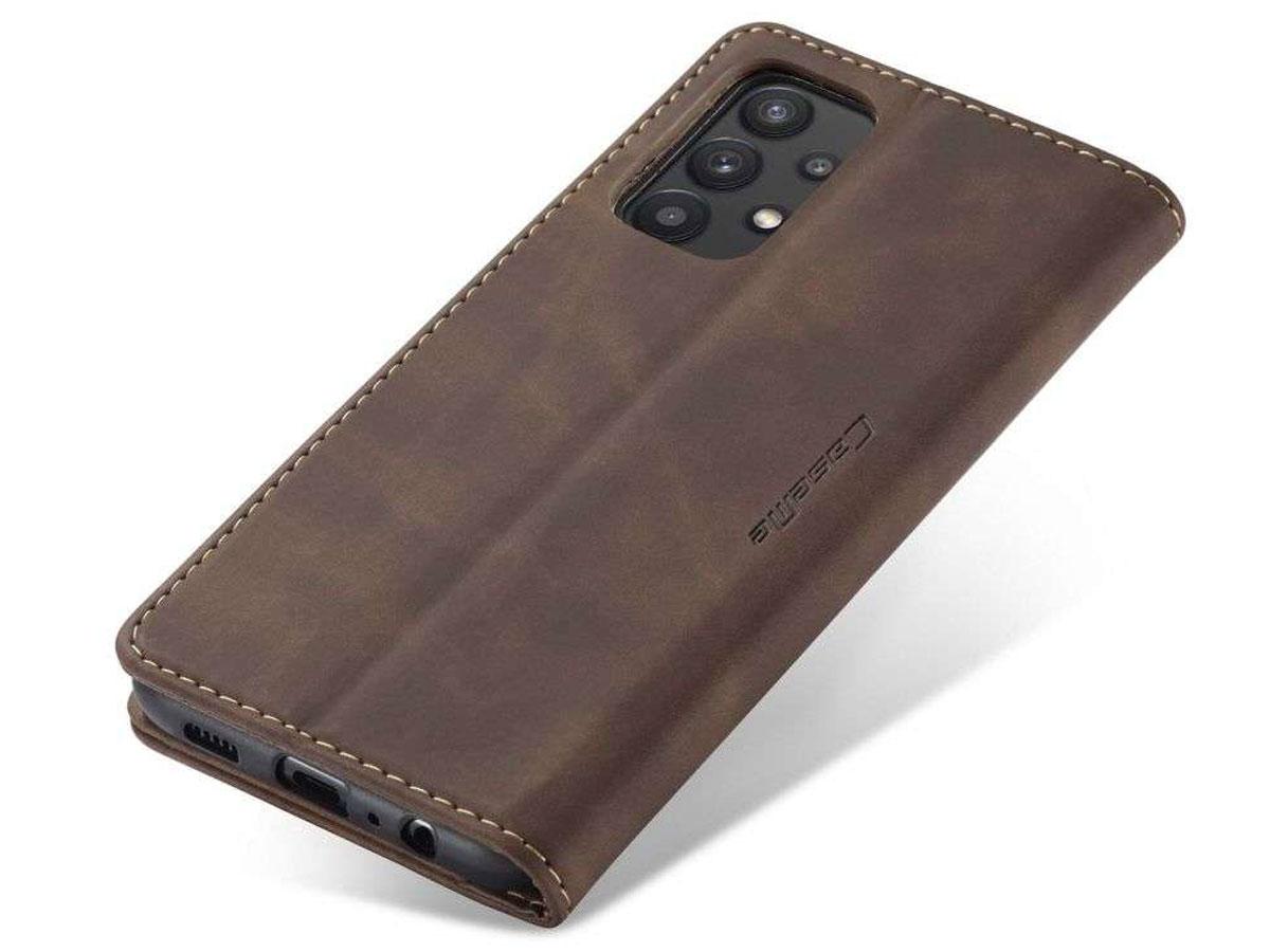 CaseMe Vintage BookCase Bruin - Samsung Galaxy A32 5G hoesje