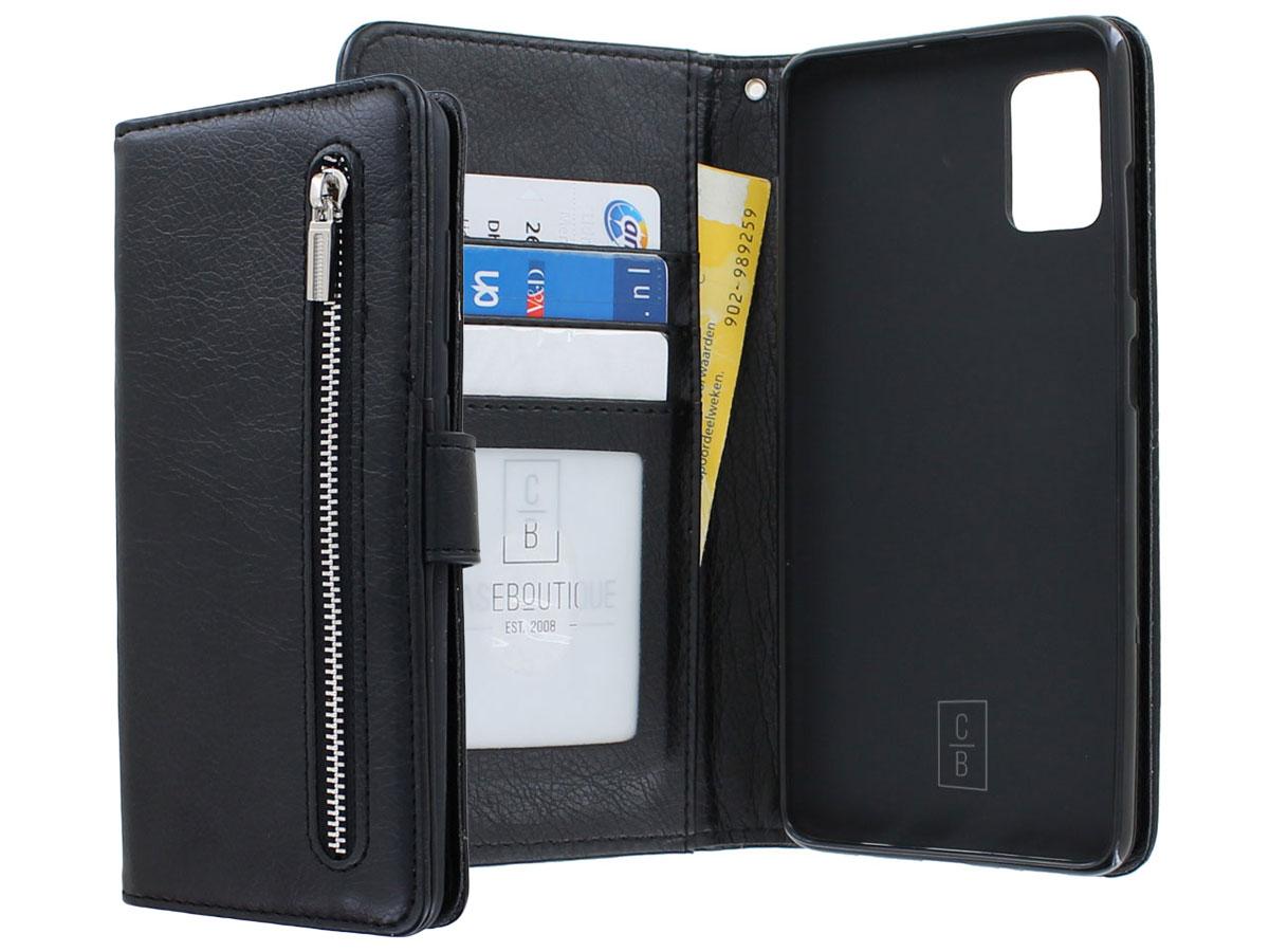 Book Case met Ritsvakje Zwart - Samsung Galaxy A41 hoesje