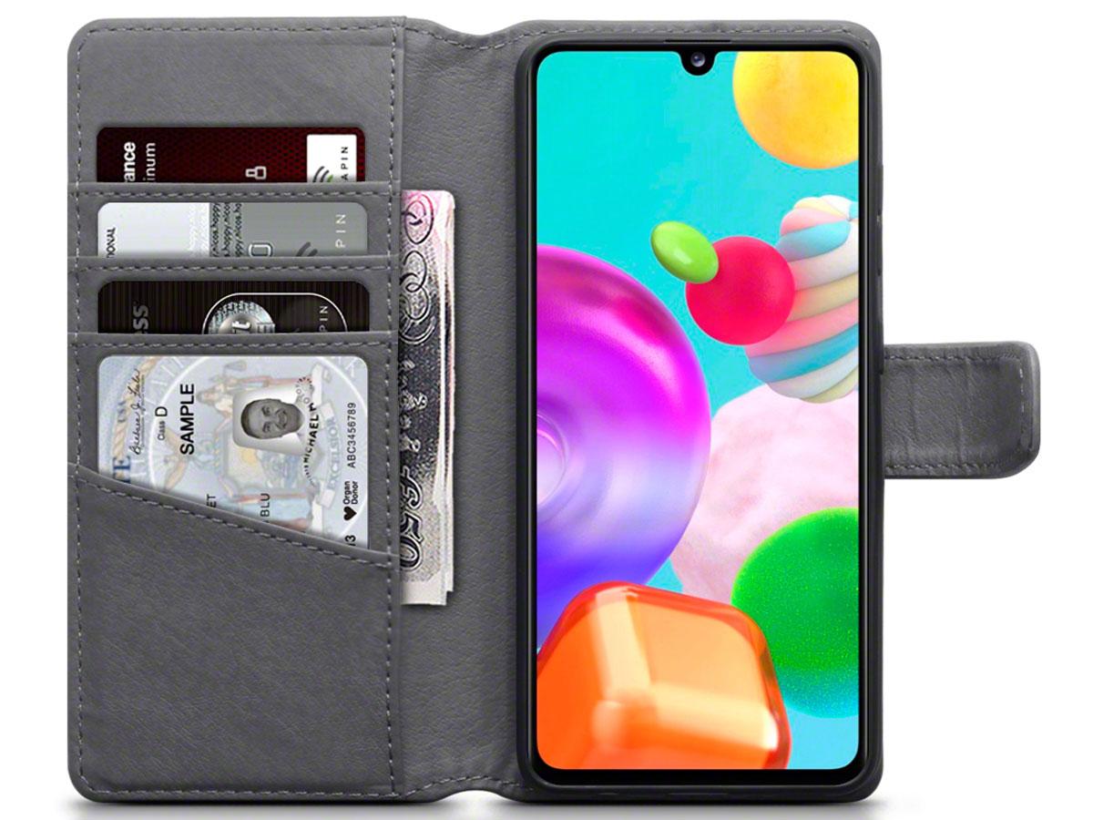 CaseBoutique Wallet Case Grijs Leer - Samsung Galaxy A41 hoesje