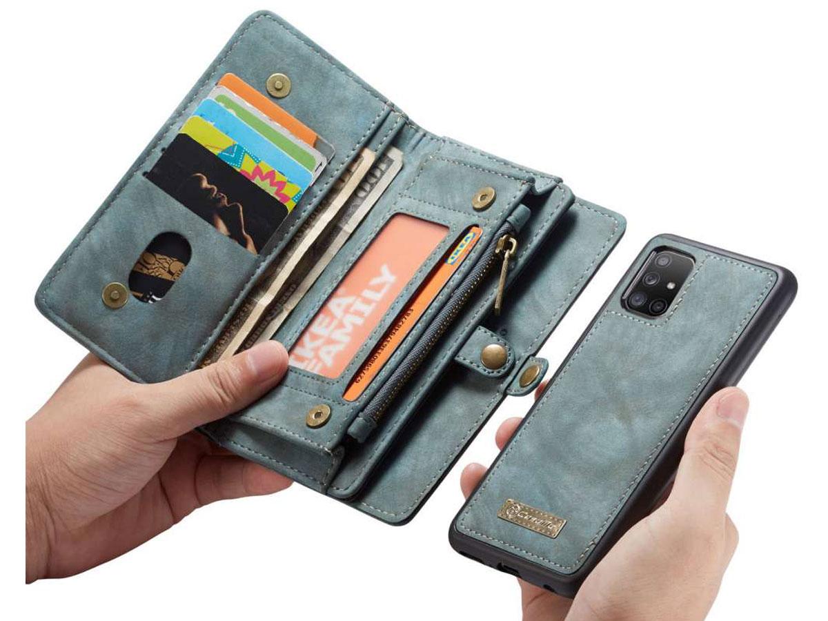 CaseMe 2in1 Wallet Ritsvak Case Blauw - Samsung Galaxy A51 Hoesje