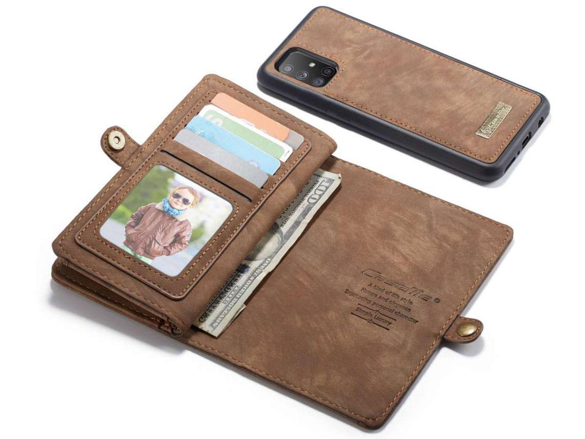 CaseMe 2in1 Wallet Ritsvak Case Bruin - Samsung Galaxy A51 Hoesje