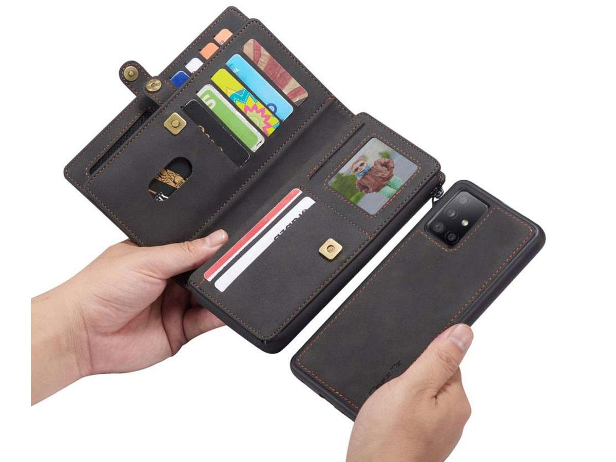 CaseMe Multi Wallet Ritsvak Case Zwart - Samsung Galaxy A51 Hoesje