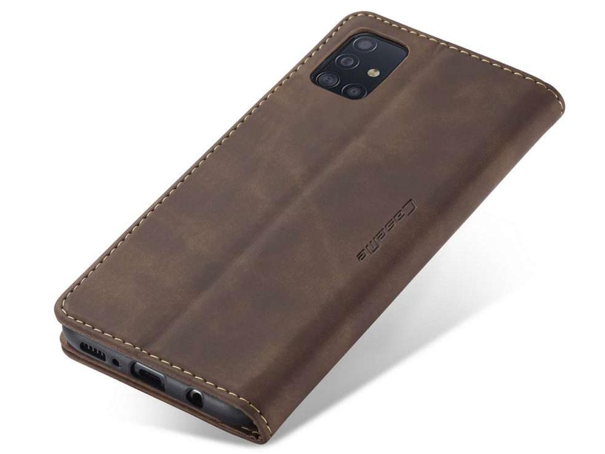 CaseMe Vintage BookCase Bruin - Samsung Galaxy A51 hoesje