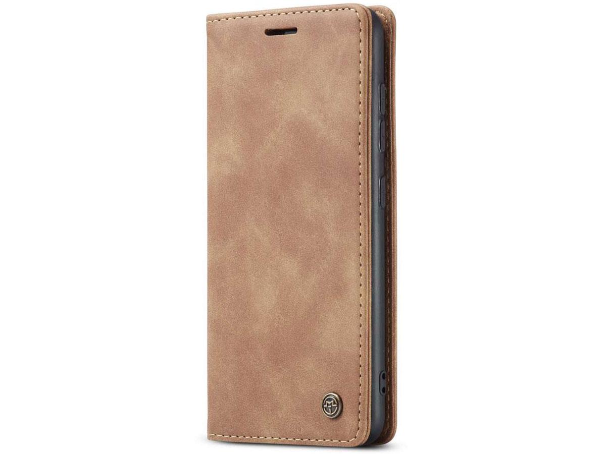 CaseMe Vintage BookCase Tan - Samsung Galaxy A51 hoesje
