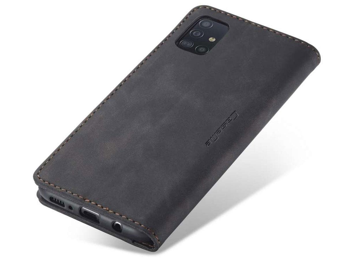 CaseMe Vintage BookCase Zwart - Samsung Galaxy A51 hoesje