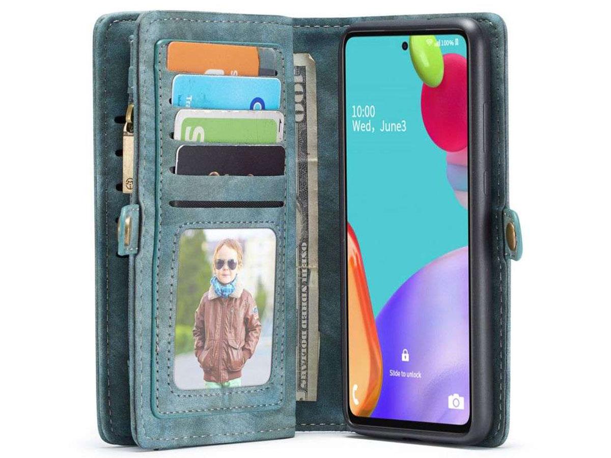 CaseMe 2in1 Wallet Ritsvak Case Blauw - Samsung Galaxy A52 Hoesje