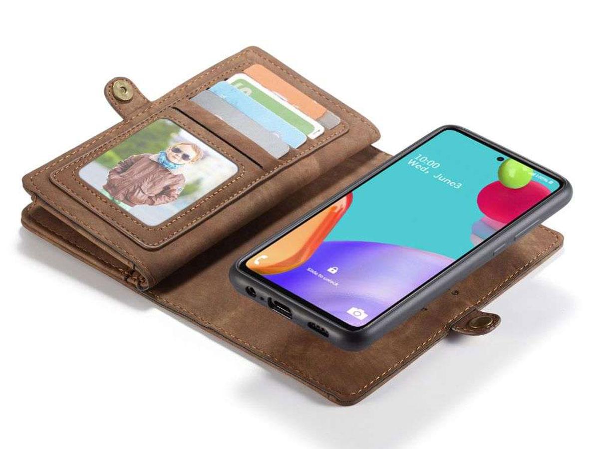 CaseMe 2in1 Wallet Ritsvak Case Bruin - Samsung Galaxy A52/A52s Hoesje