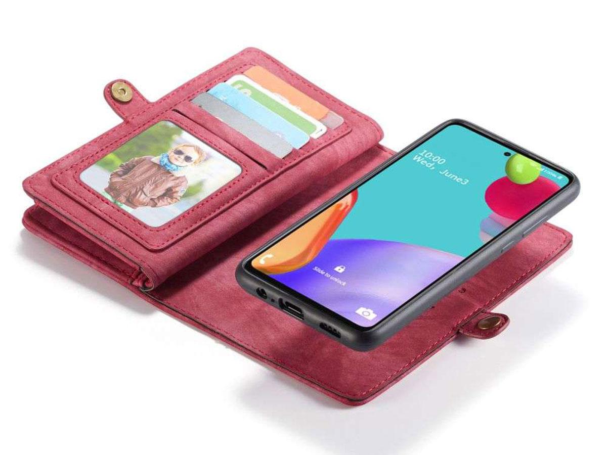 CaseMe 2in1 Wallet Ritsvak Case Rood - Samsung Galaxy A52/A52s Hoesje