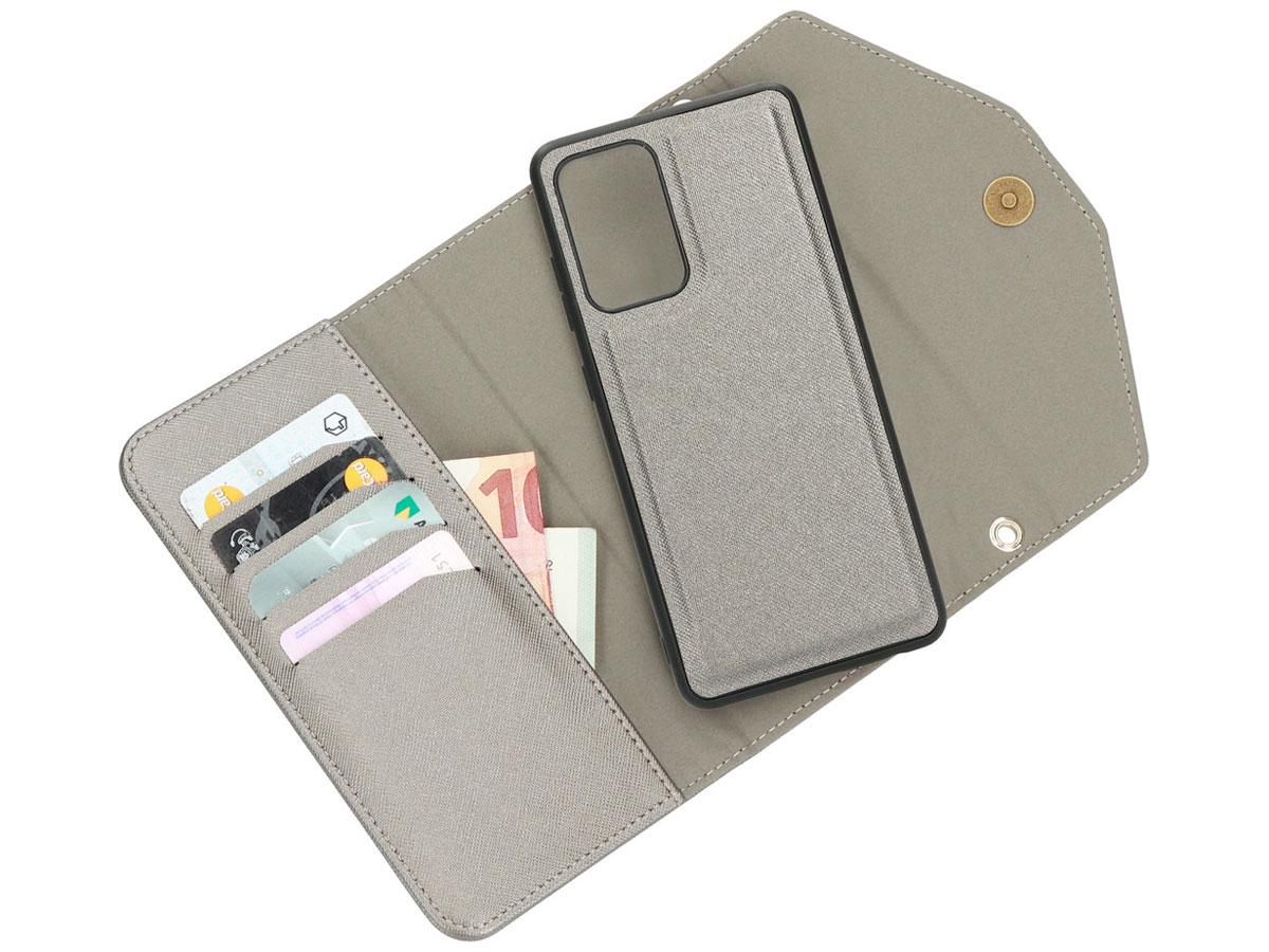 Casetastic Saffiano 2in1 Clutch Case Zilver - Samsung Galaxy A52 hoesje