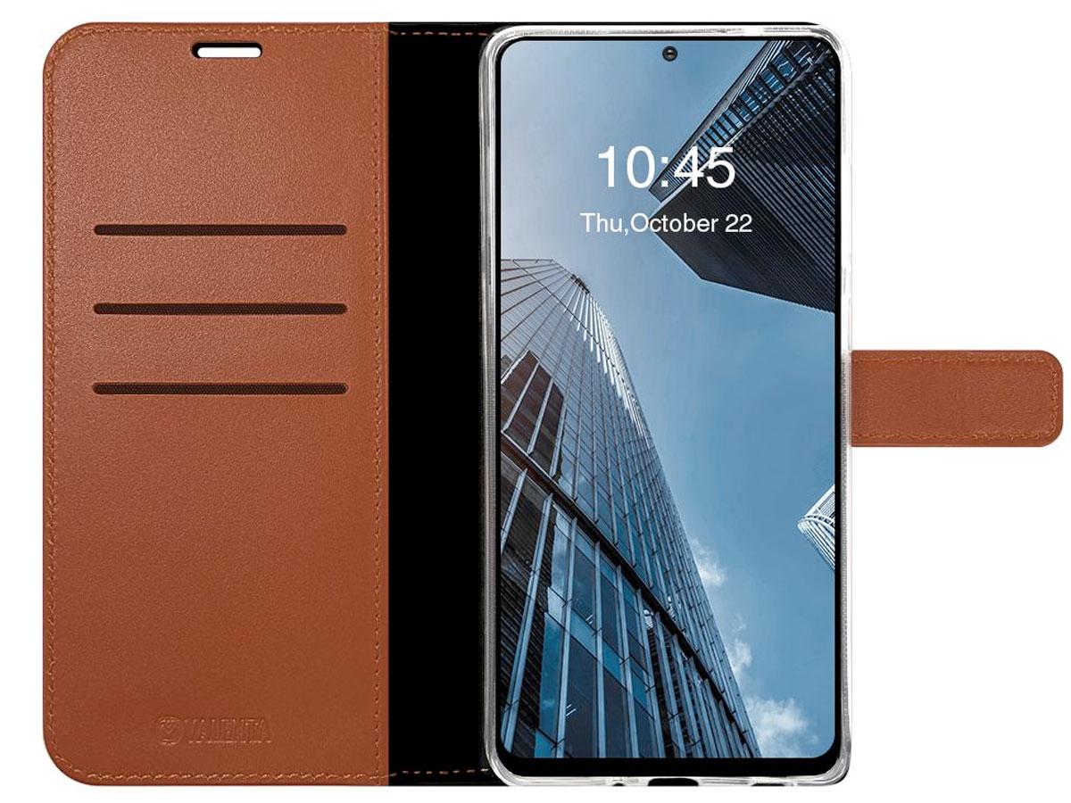 Valenta Leather Bookcase Bruin - Samsung Galaxy A52/A52s hoesje