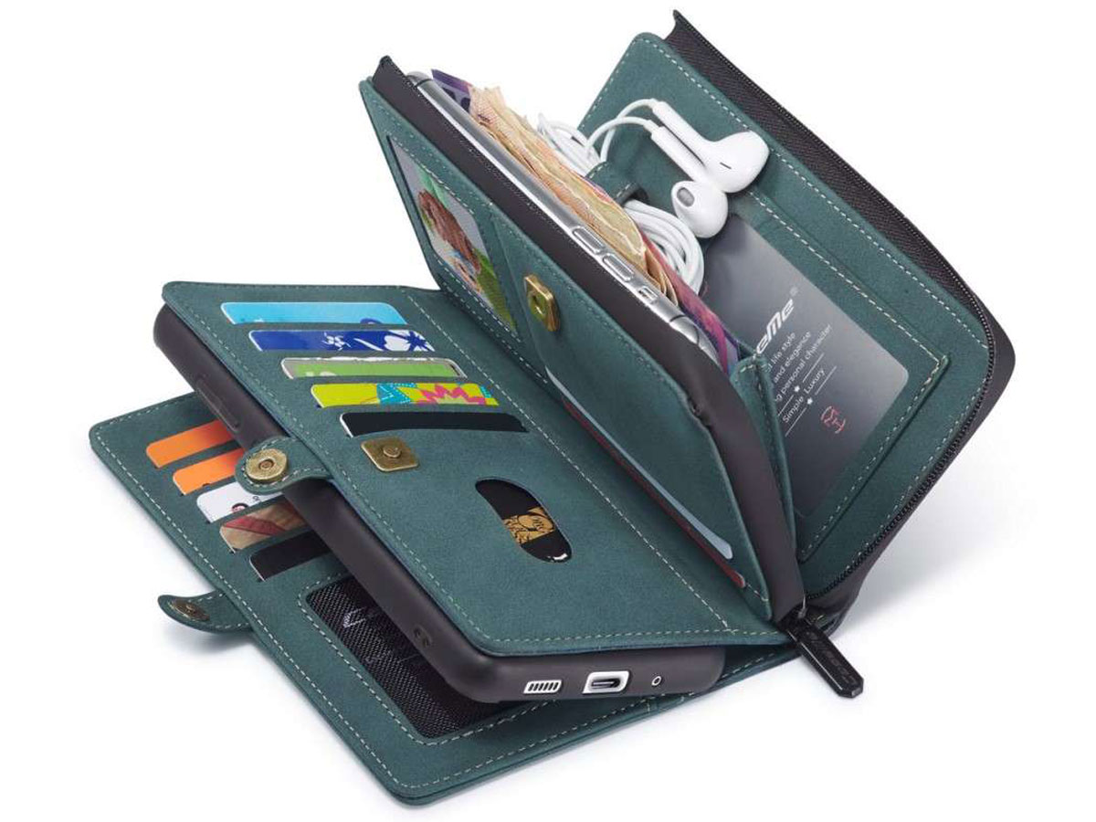 CaseMe Multi Wallet Ritsvak Case Blauw - Samsung Galaxy A71 Hoesje