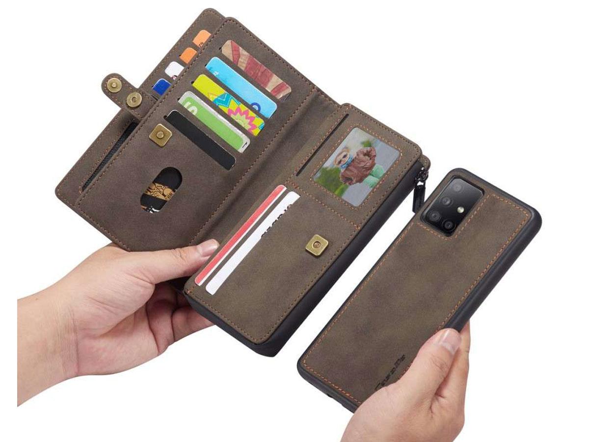 CaseMe Multi Wallet Ritsvak Case Bruin - Samsung Galaxy A71 Hoesje
