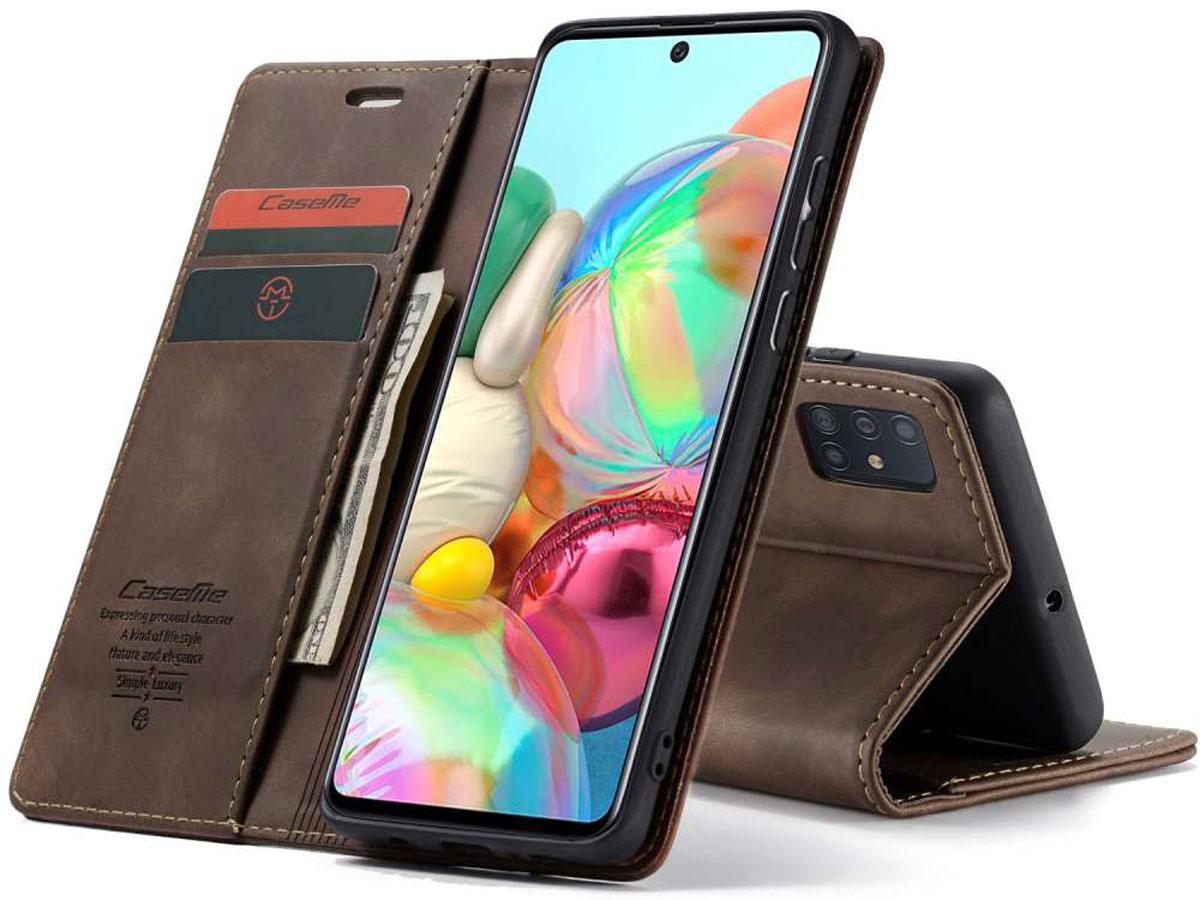 CaseMe Vintage BookCase Bruin - Samsung Galaxy A71 hoesje Donkerbruin