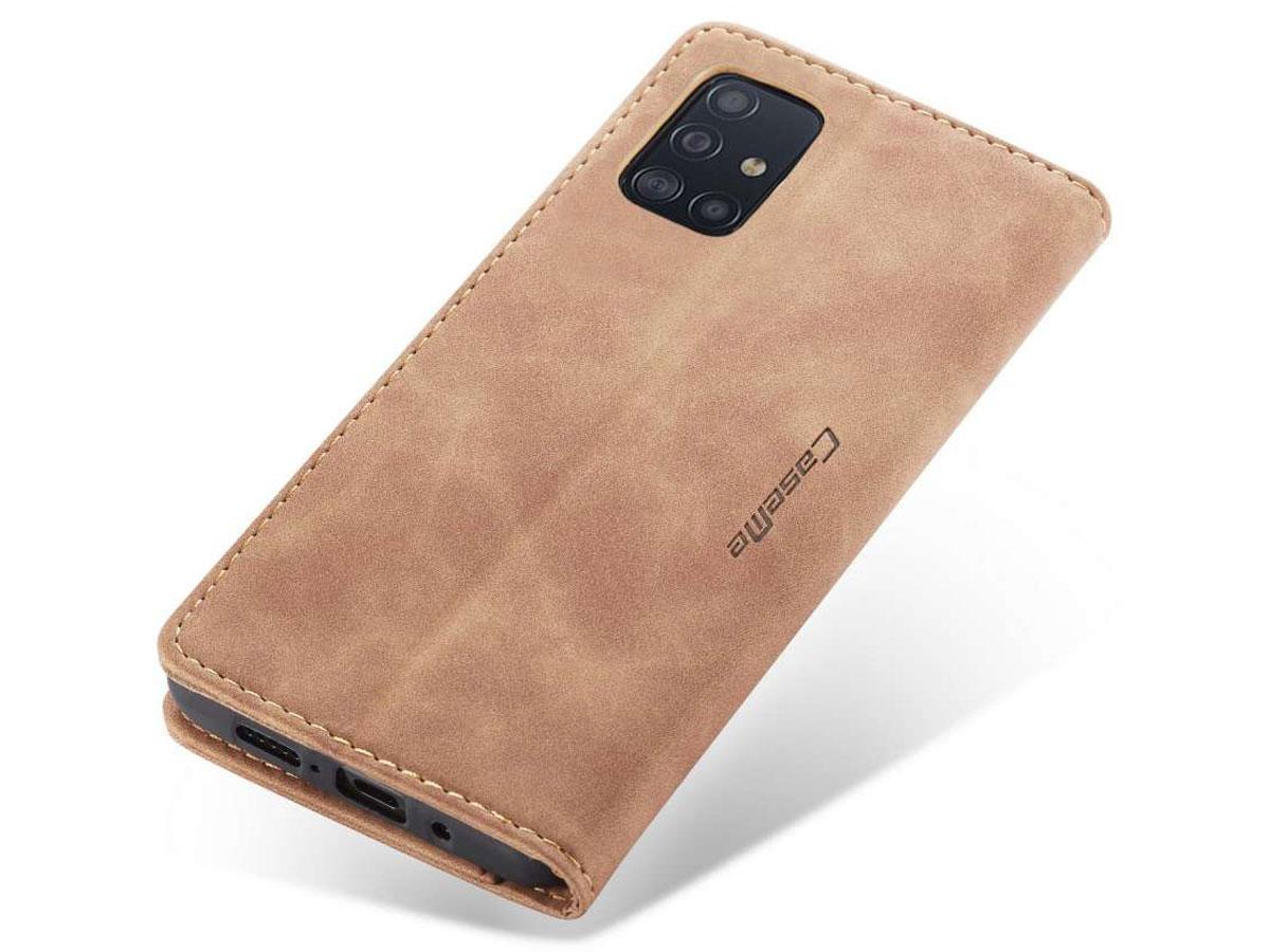 CaseMe Vintage BookCase Tan - Samsung Galaxy A71 hoesje