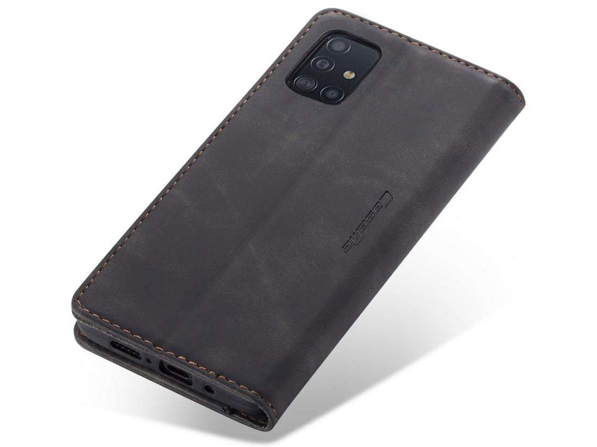 CaseMe Vintage BookCase Zwart - Samsung Galaxy A71 hoesje