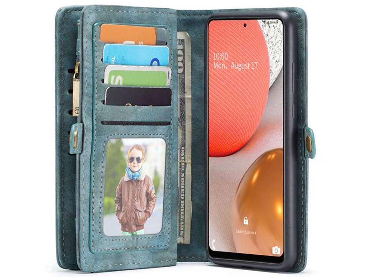 CaseMe 2in1 Wallet Ritsvak Case Blauw - Samsung Galaxy A72 Hoesje