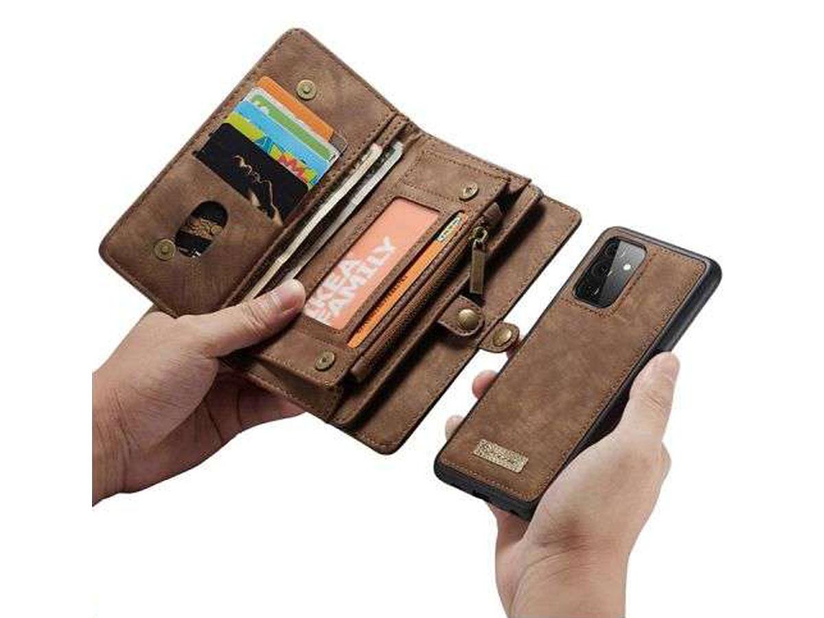 CaseMe 2in1 Wallet Ritsvak Case Bruin - Samsung Galaxy A72 Hoesje