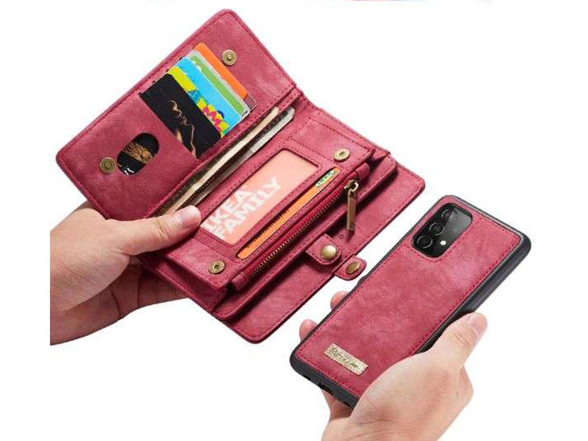 CaseMe 2in1 Wallet Ritsvak Case Rood - Samsung Galaxy A72 Hoesje