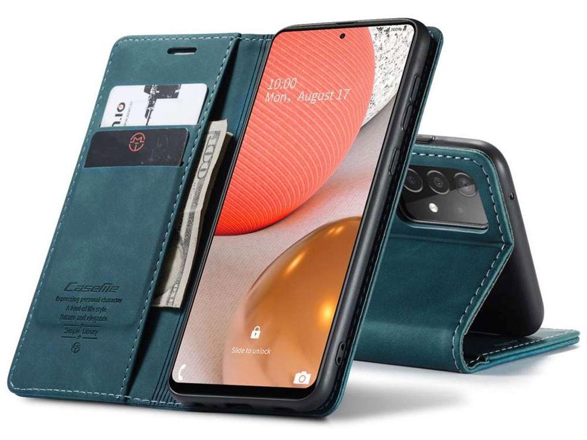 CaseMe Vintage BookCase Blauw - Samsung Galaxy A72 hoesje