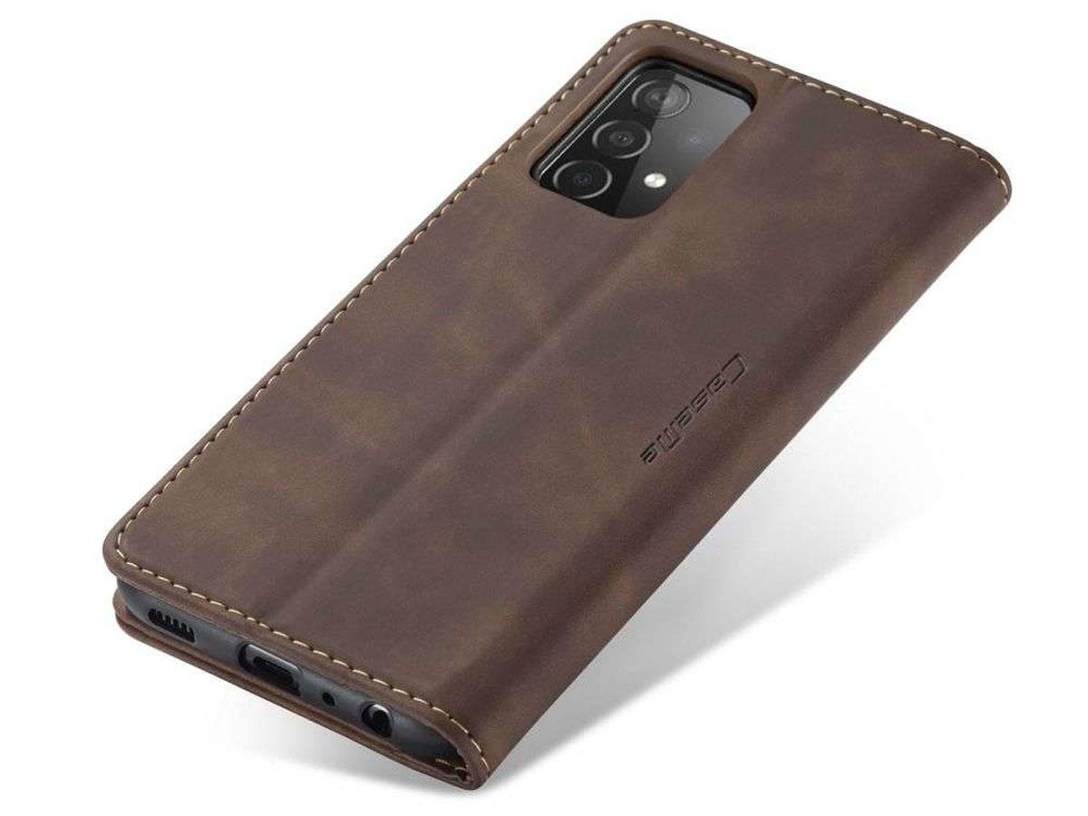 CaseMe Vintage BookCase Bruin - Samsung Galaxy A72 hoesje