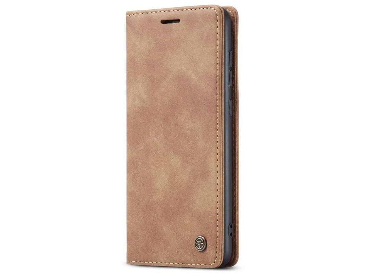 CaseMe Vintage BookCase Tan - Samsung Galaxy A72 hoesje