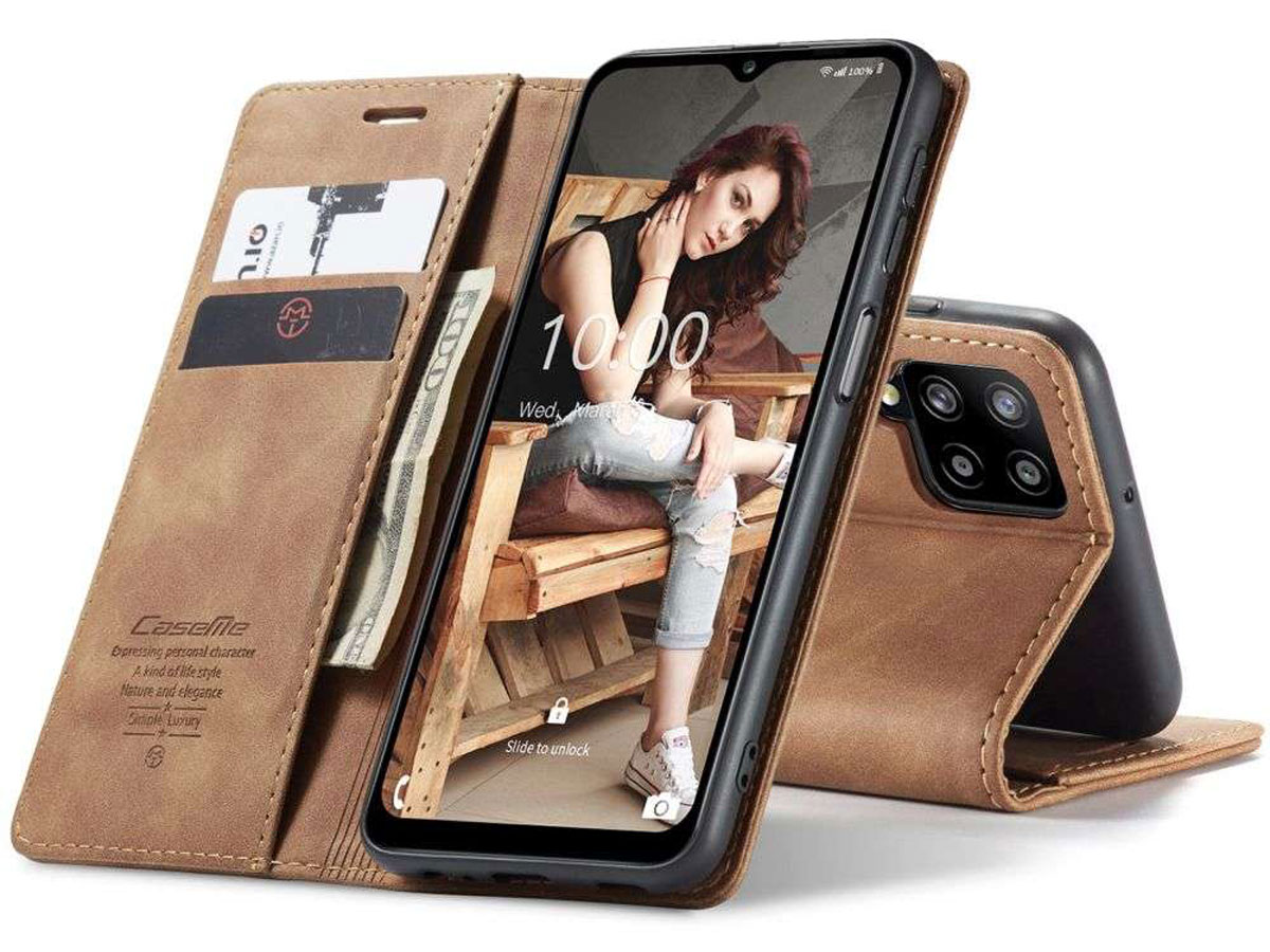 CaseMe Vintage BookCase Tan - Samsung Galaxy M12 hoesje