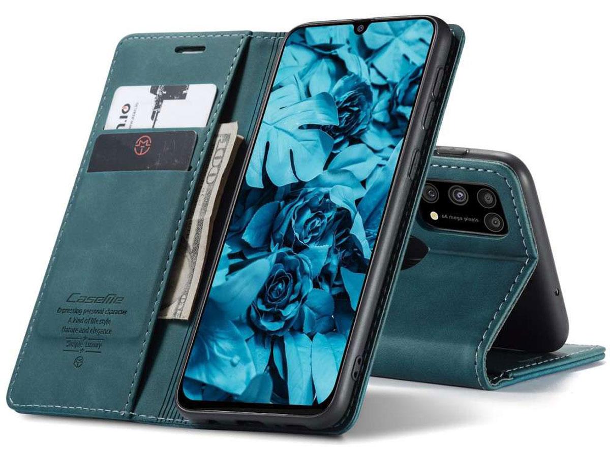 CaseMe Vintage BookCase Blauw - Samsung Galaxy M31 hoesje