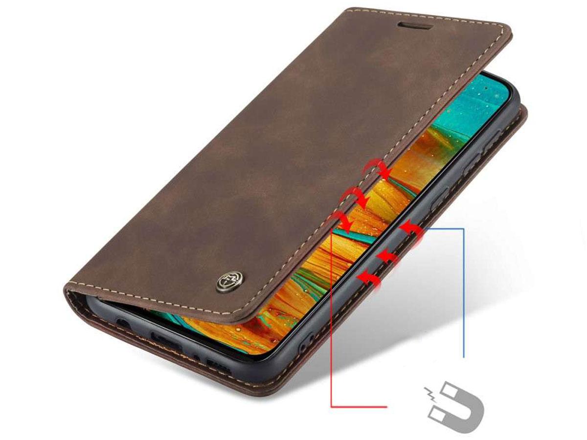 CaseMe Vintage BookCase Bruin - Samsung Galaxy M31 hoesje