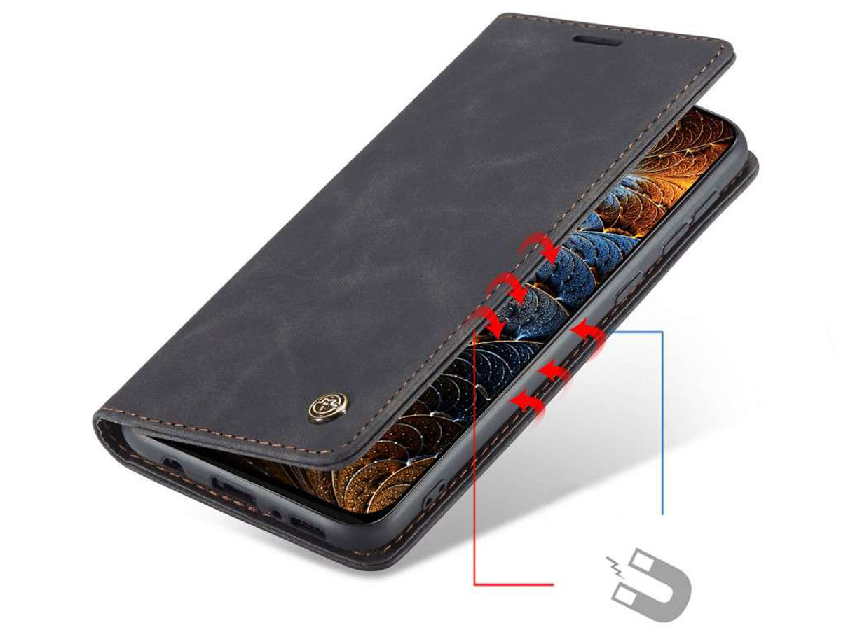 CaseMe Vintage BookCase Zwart - Samsung Galaxy M31 hoesje