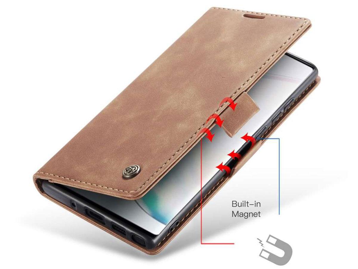 CaseMe Vintage BookCase Tan - Samsung Galaxy Note 10 Lite hoesje