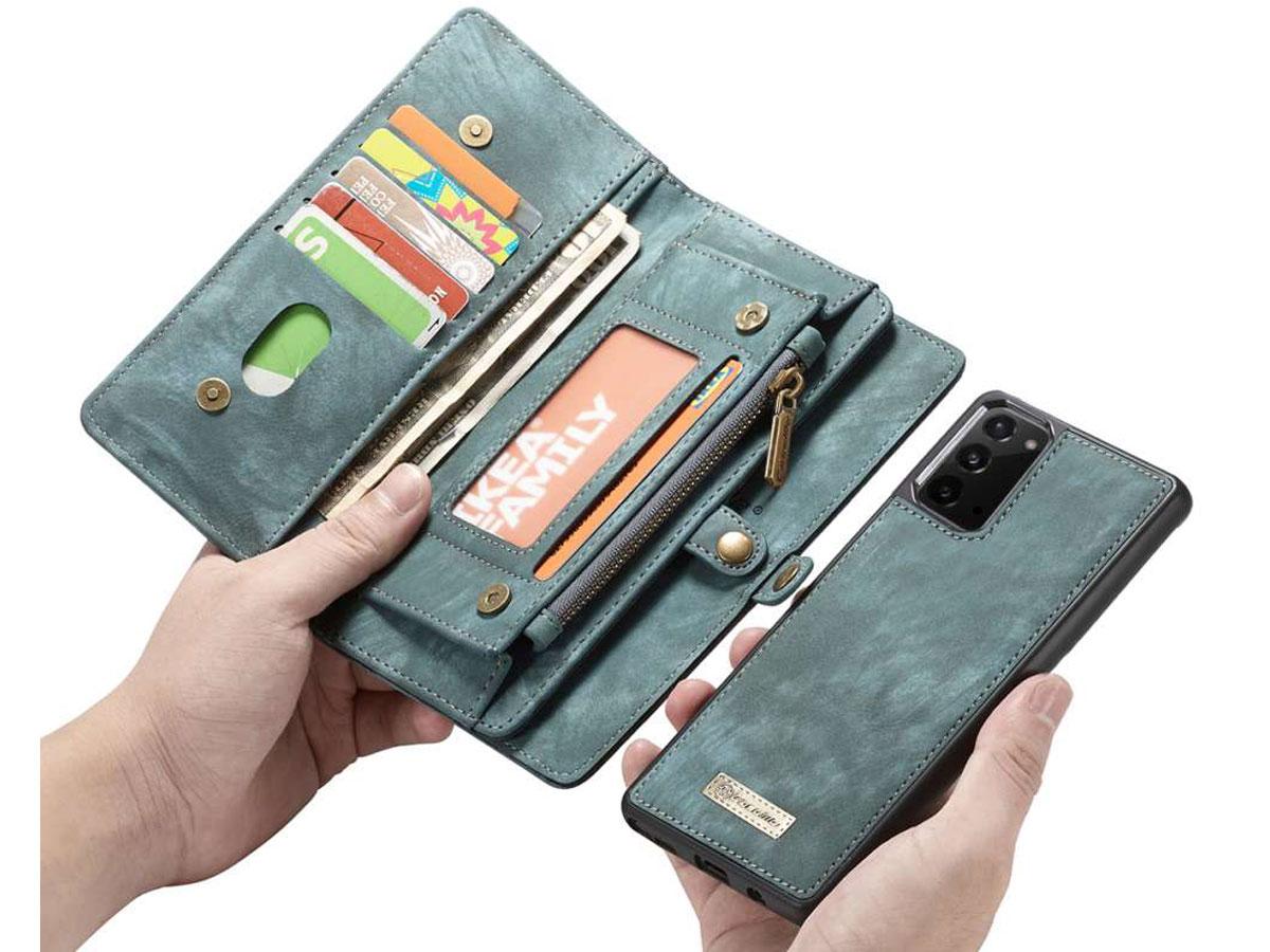 CaseMe 2in1 Wallet Ritsvak Case Blauw - Samsung Galaxy Note 20 Hoesje