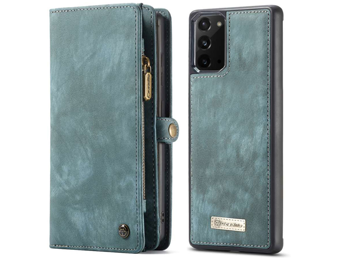 CaseMe 2in1 Wallet Ritsvak Case Blauw - Samsung Galaxy Note 20 Hoesje