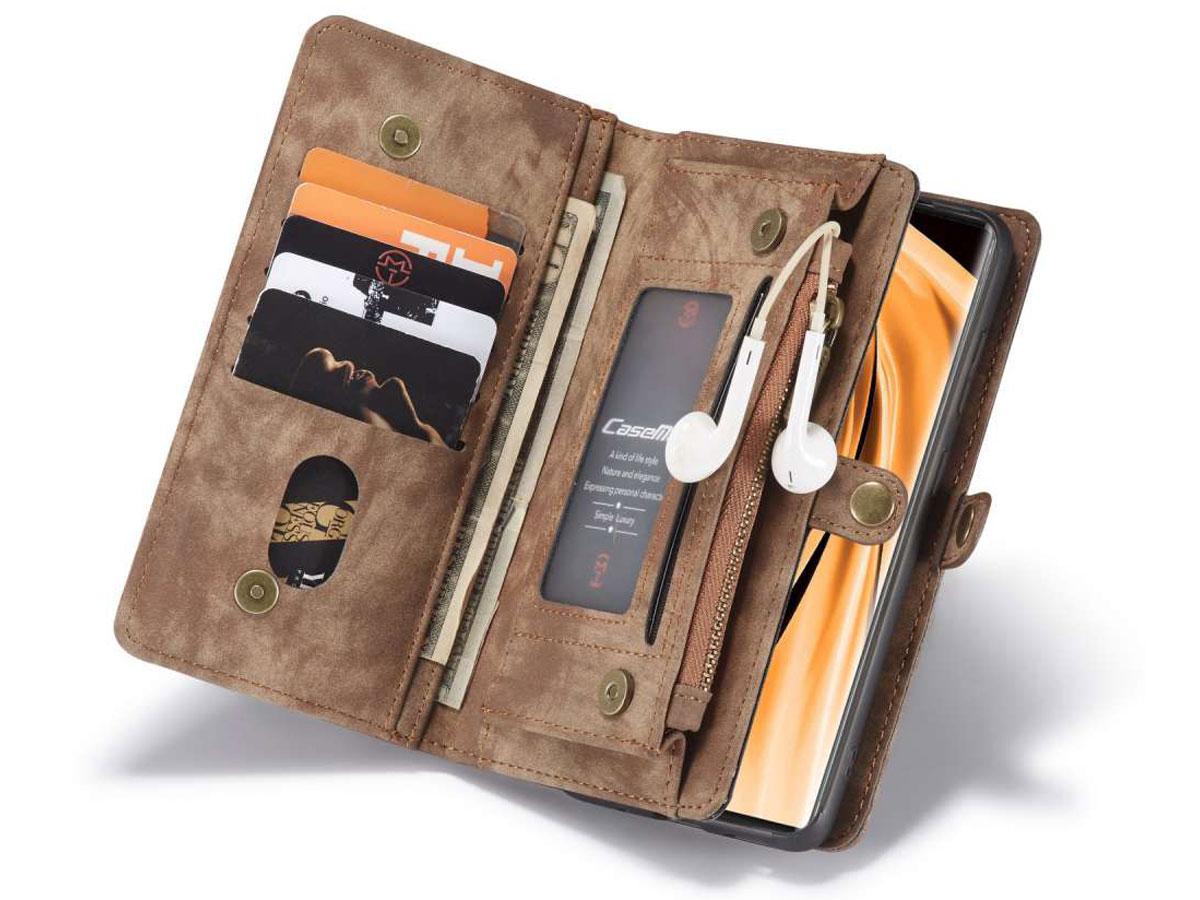CaseMe 2in1 Wallet Ritsvak Case Bruin - Samsung Galaxy Note 20 Hoesje
