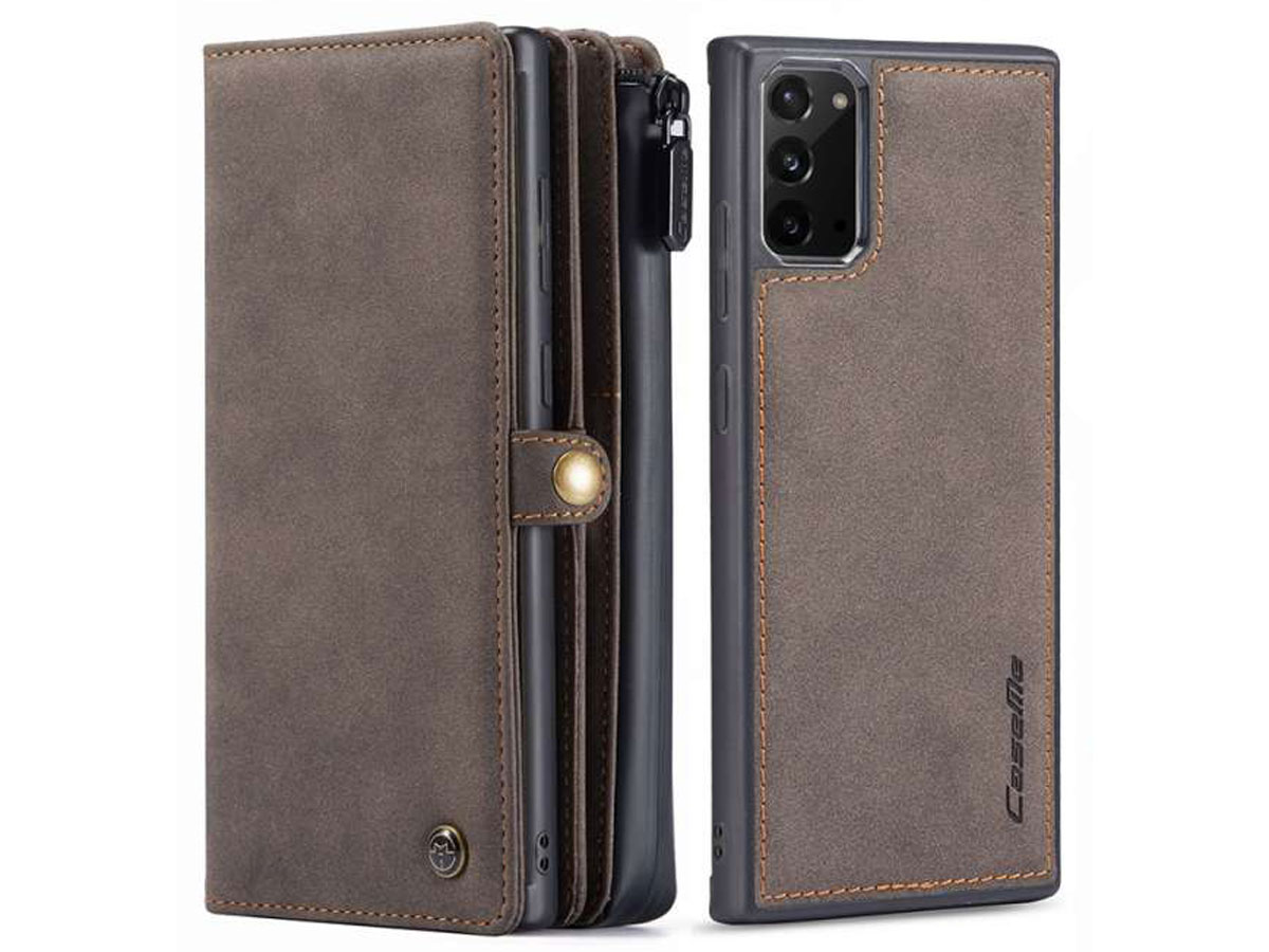 CaseMe 2in1 Multi Wallet Case Bruin - Samsung Galaxy Note 20 Hoesje
