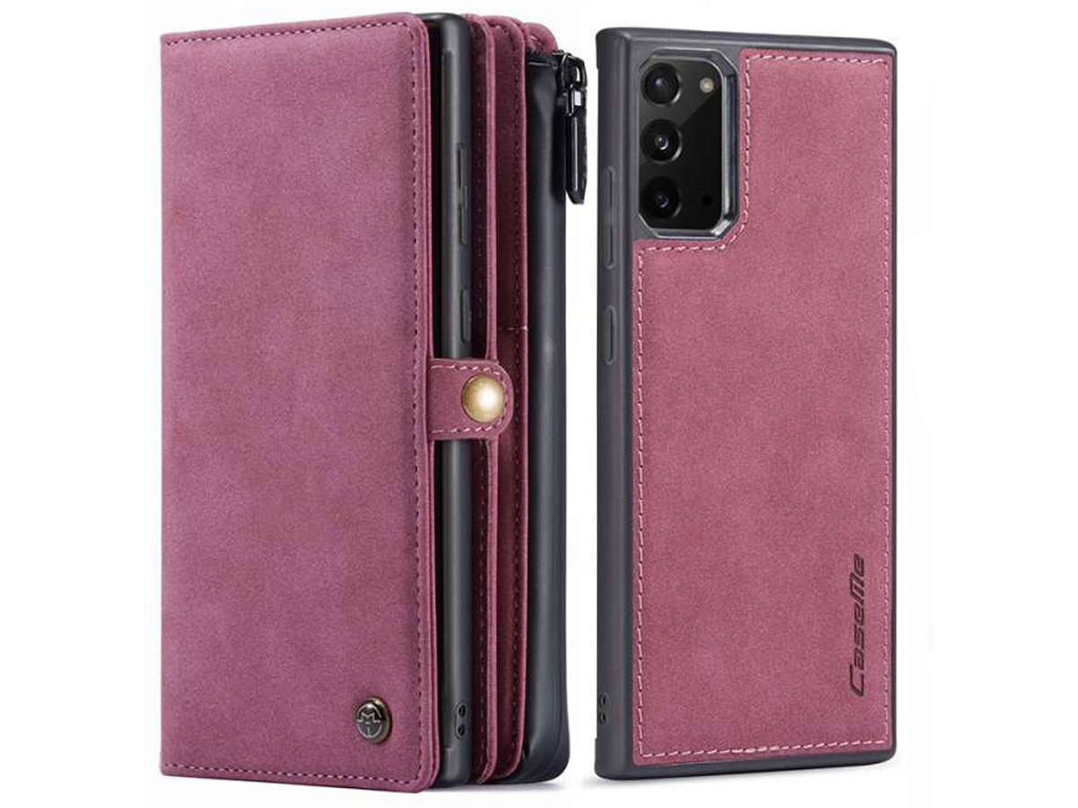 CaseMe 2in1 Multi Wallet Case Rood - Samsung Galaxy Note 20 Hoesje