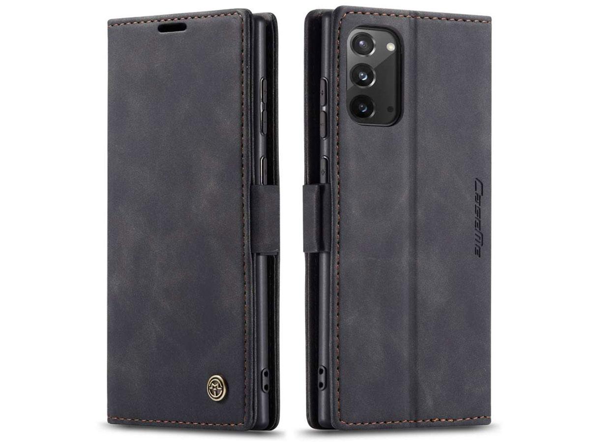 CaseMe Vintage BookCase Zwart - Samsung Galaxy Note 20 hoesje