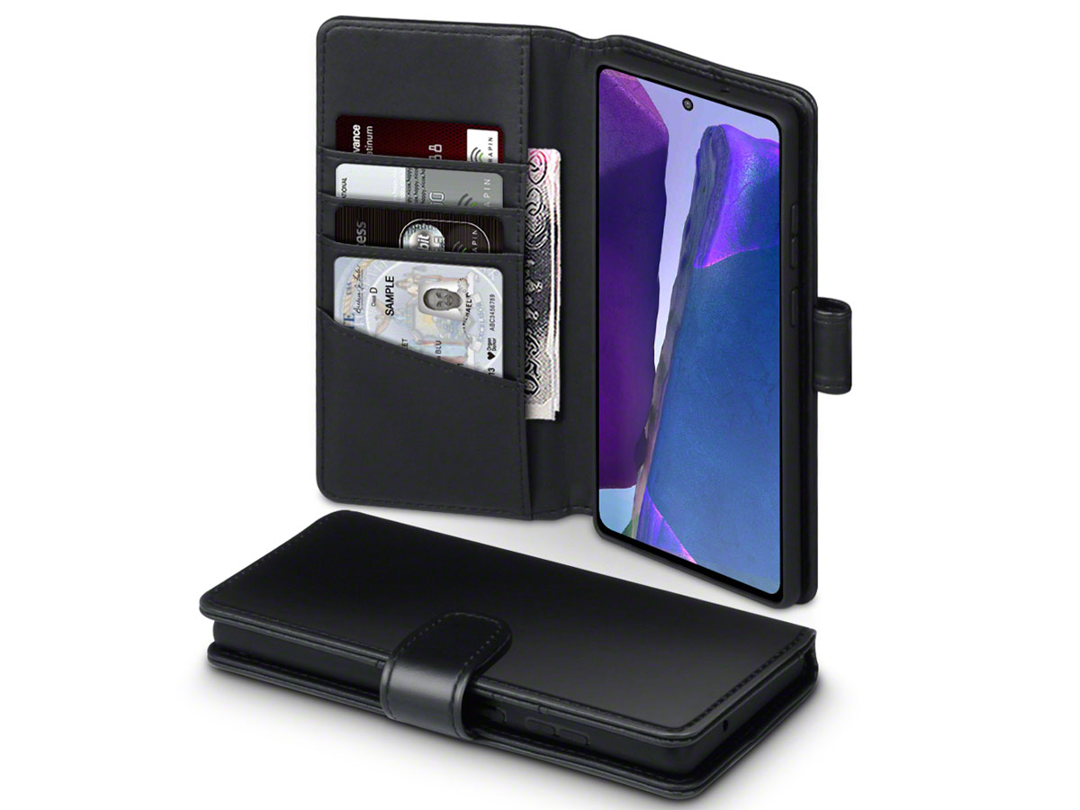 CaseBoutique Wallet Case Zwart Leer - Samsung Galaxy Note 20 hoesje