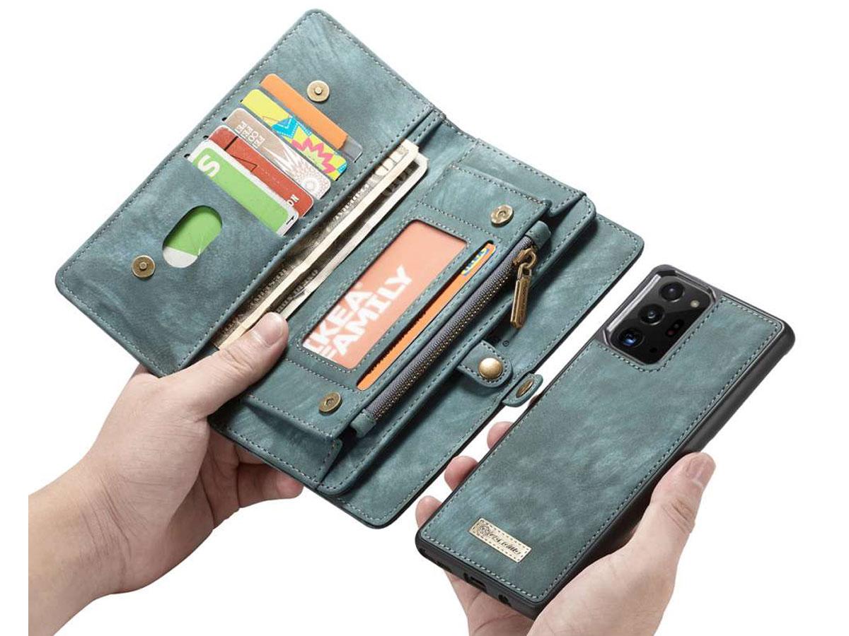 CaseMe 2in1 Wallet Ritsvak Case Blauw - Galaxy Note 20 Ultra Hoesje