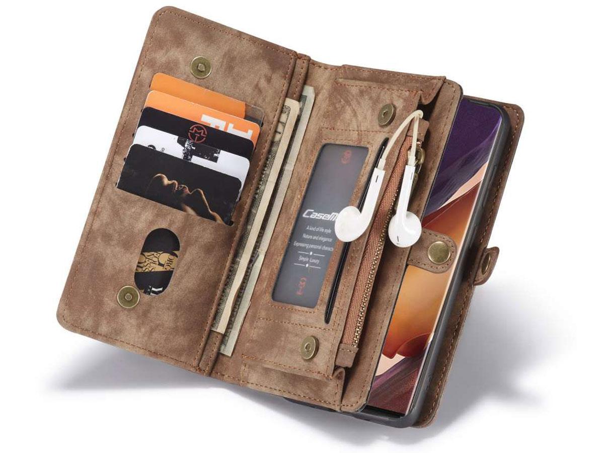 CaseMe 2in1 Wallet Ritsvak Case Bruin - Galaxy Note 20 Ultra Hoesje