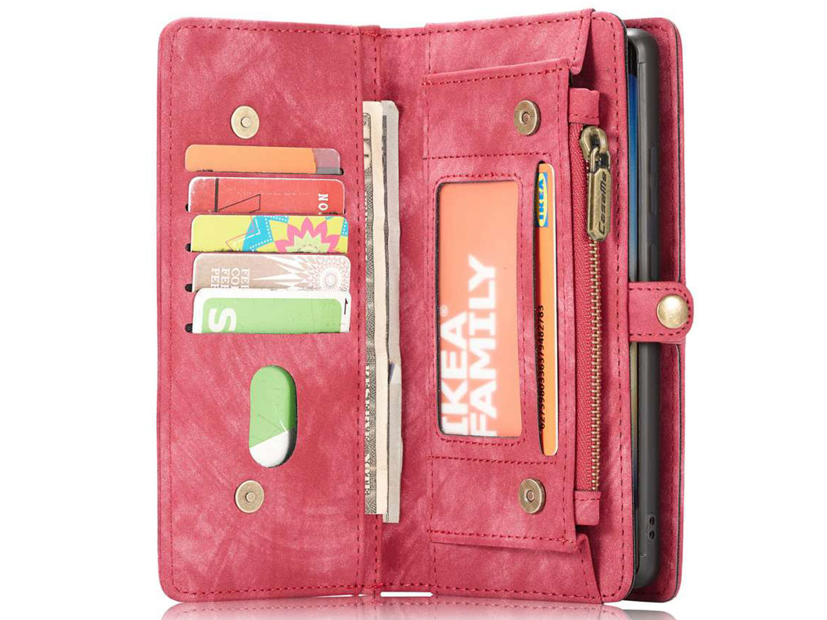 CaseMe 2in1 Wallet Ritsvak Case Rood - Galaxy Note 20 Ultra Hoesje