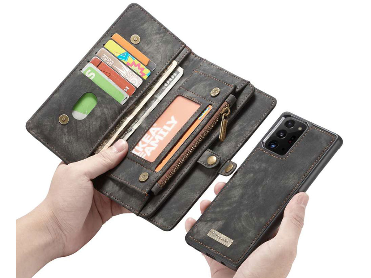 CaseMe 2in1 Wallet Ritsvak Case Zwart - Galaxy Note 20 Ultra Hoesje