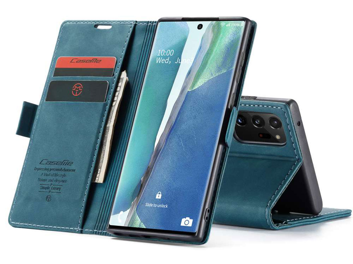 CaseMe Vintage BookCase Blauw - Samsung Galaxy Note 20 Ultra hoesje