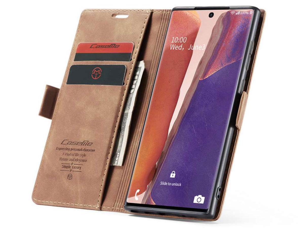 CaseMe Vintage BookCase Tan - Samsung Galaxy Note 20 Ultra hoesje