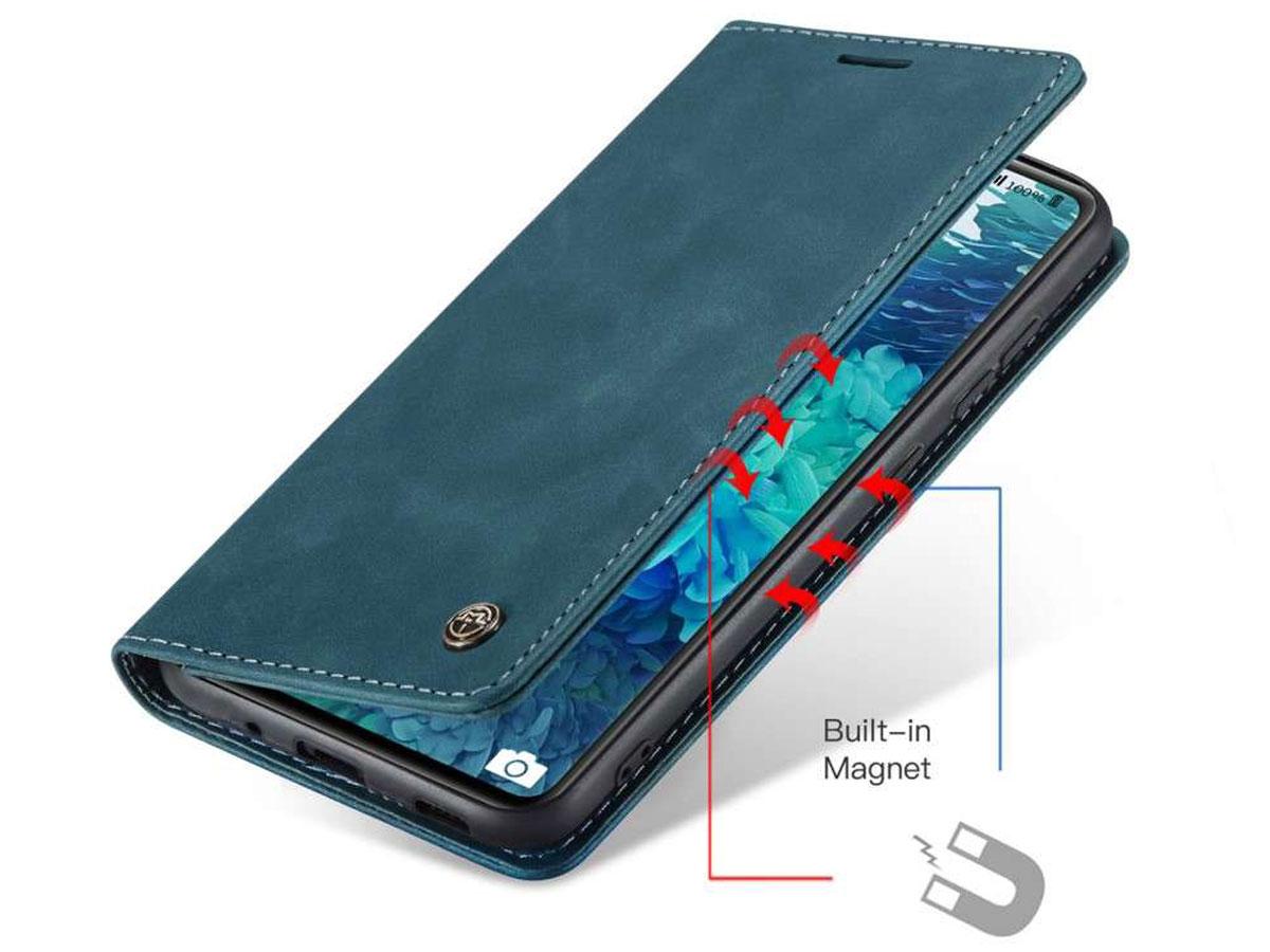 CaseMe Vintage BookCase Blauw - Samsung Galaxy S20 FE hoesje