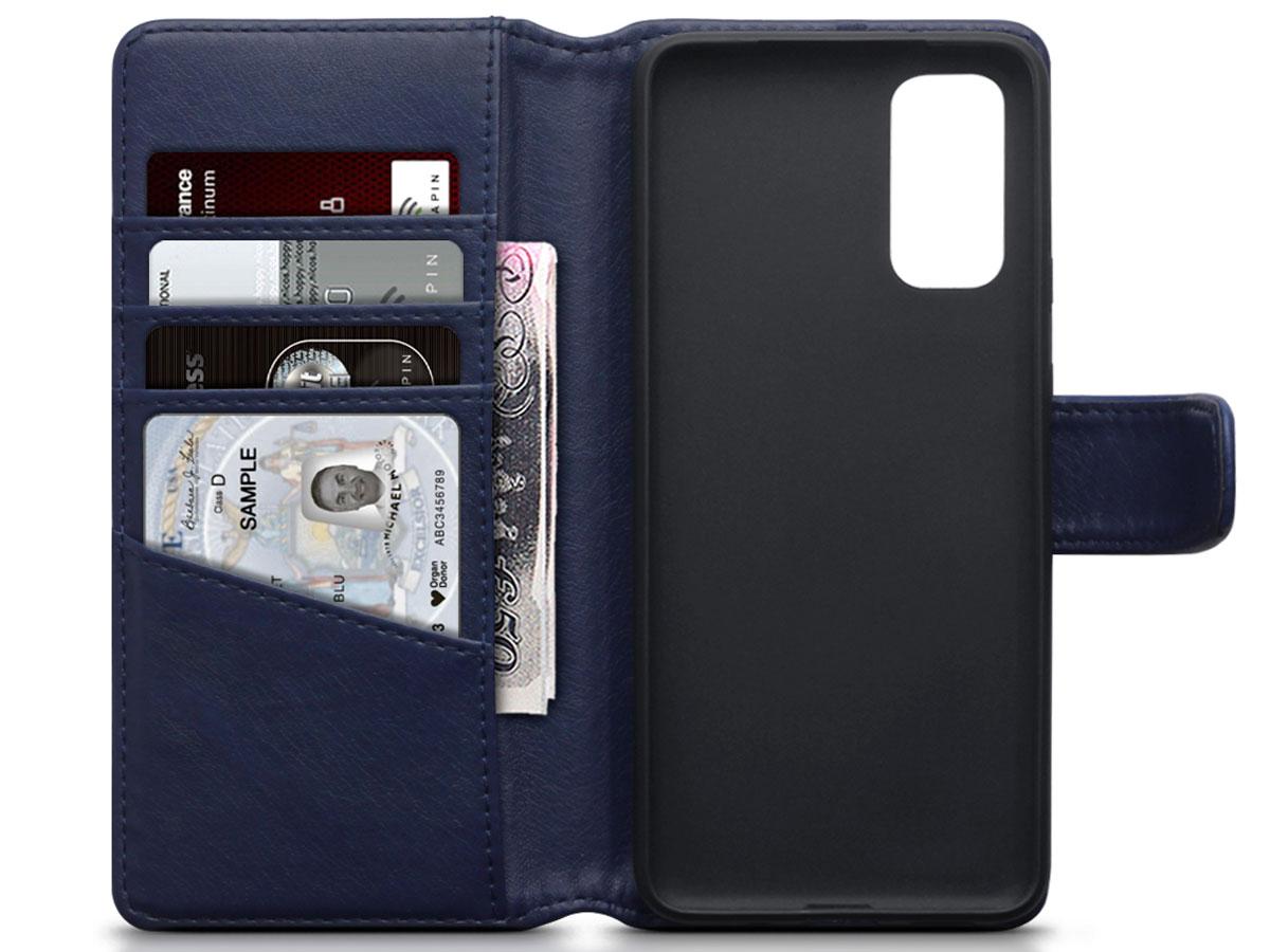 CaseBoutique Wallet Case Leer Blauw - Galaxy S20 hoesje