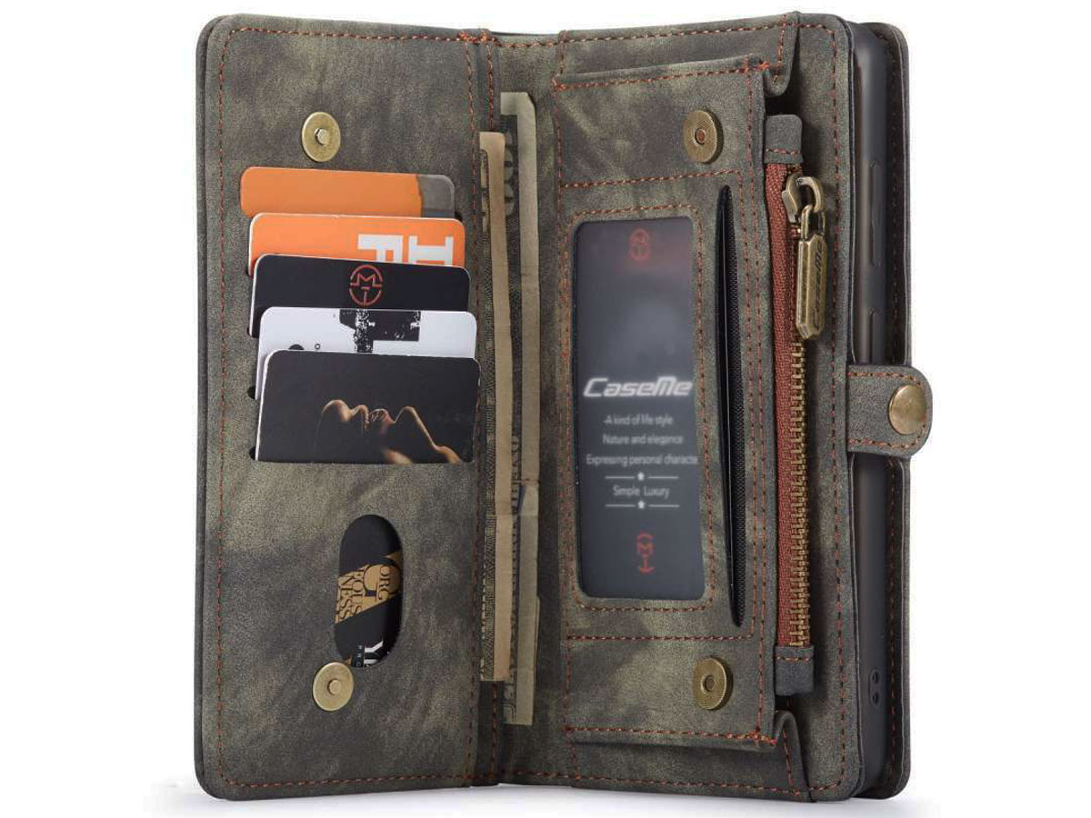 CaseMe 2in1 Wallet Ritsvak Case Zwart - Samsung Galaxy S20 Hoesje