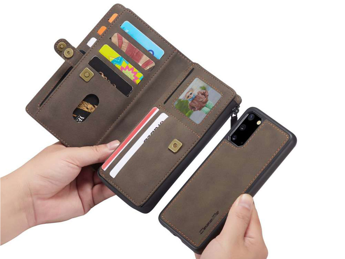 CaseMe Multi Wallet Ritsvak Case Bruin - Samsung Galaxy S20 Hoesje
