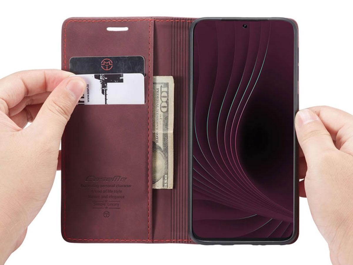 CaseMe Vintage BookCase Wine - Samsung Galaxy S20 hoesje
